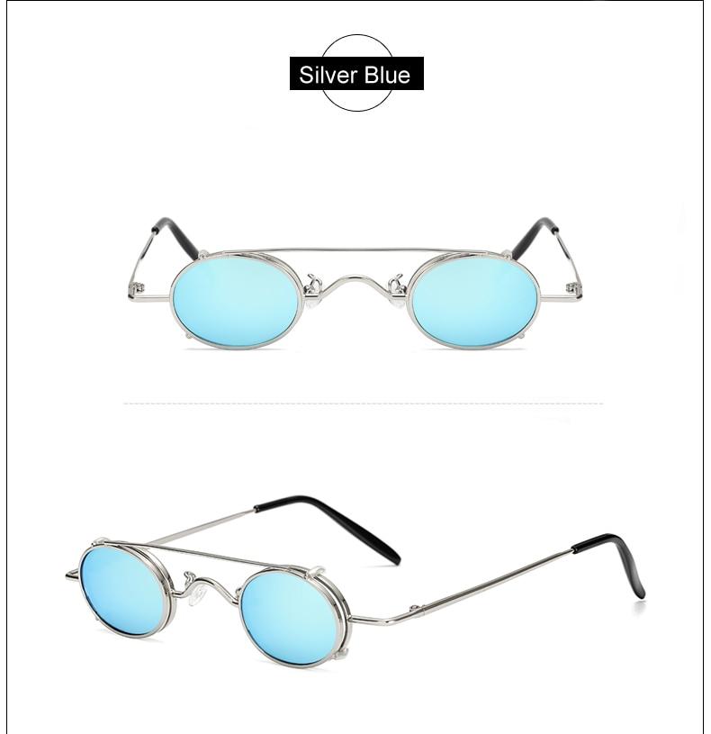 Ralferty Vintage Small Clip On Sunglasses Women Men Retro Mini Steampunk Goggles Punk Sun Glasses UV400 Eyewear Accessories B012 10
