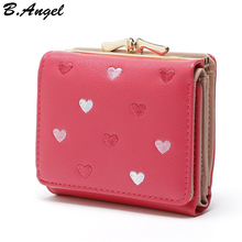 Hot heart embroidery women short wallets brand design leather coin purses female girls hasp wallets high quality PU leather