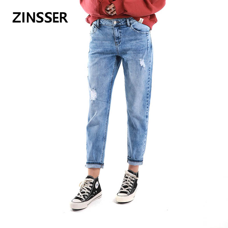 Women Denim Boyfriend Pant 100% Cotton Destroyed High Waist Acid Snow Blue Slim Ripped Lady Jeans
