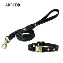 ARRKEO 24~36 CM Adjustable Leather Dog Collar Pet Buckle Collar Set with 120 CM Leather Dog Lead Leash for Small Dog Black Brown