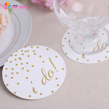 12Pcs/set Home Table Cup Mat Creative I do Coffee Drink Placemat Tableware Paper Drinks Coasters Personalized Wedding Decoration