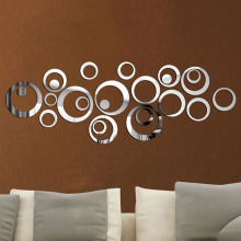 Hot Sales Factory Price! Fashion Home Decor Circles Mirror Style Removable Decal Vinyl Art Wall Sticker DIY