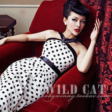 FREE SHIPPING Wild cat vintage classic marilyn monroe cross-strap polka dot fish tail one-piece dress(China)