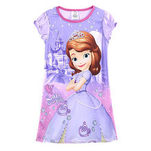 2017 New Kids Baby Girls  Movies Purple  Party Sofia Princess Summer Short Sleeve Fancy  Casual  Dress 4-14Y