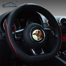 D Ring Genuine leather steering wheel cover/ D Shape for VW GOLF 7 2015 POLO Sagitar Steering Covers Supplier
