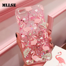 MLLSE Glitter Capinha For iPhone 6 6s 6Plus Quicksand Case Cover For iPhone 7 7Plus Pink Flamingo Hard Plastic ipone 6 s Coque(China)