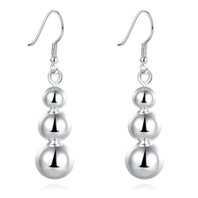 PATICO Cheap Sale Simple 3 Balls 925 Sterling Silver French Earwires Hook Earrings Jewelry Shiny Smooth Design Fast Nice