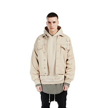 Cool Men's Fashion Coat Kanye West Fear of god Light tan Jacket Justin Denim Jackets Oversize Windbreaker High Street Style