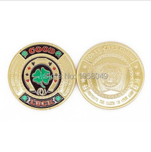 10pcs/lot free ship Green Clover Good Luck Casino Challenge Coin Inlay Poker Chips Token Coin With Top Quality&Factory Price