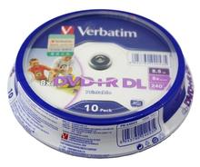 10 Pieces Verbatim balnk printable DVD+R DL 8X Dual Layer 10 Discs DVD +R dl 8.5GB with original cake box