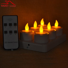 Remote Control Super Bright LED Rechargeable Tealight Candle with Charging Base Frosted Holder Set of 6 for Christmas Wedding