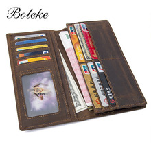 Brand Men Genuine Leather Wallet Purse Vintage Long Bifold Card Holder Clutch Male Crazy Horse Leather Wallet Pouch for Man 8030