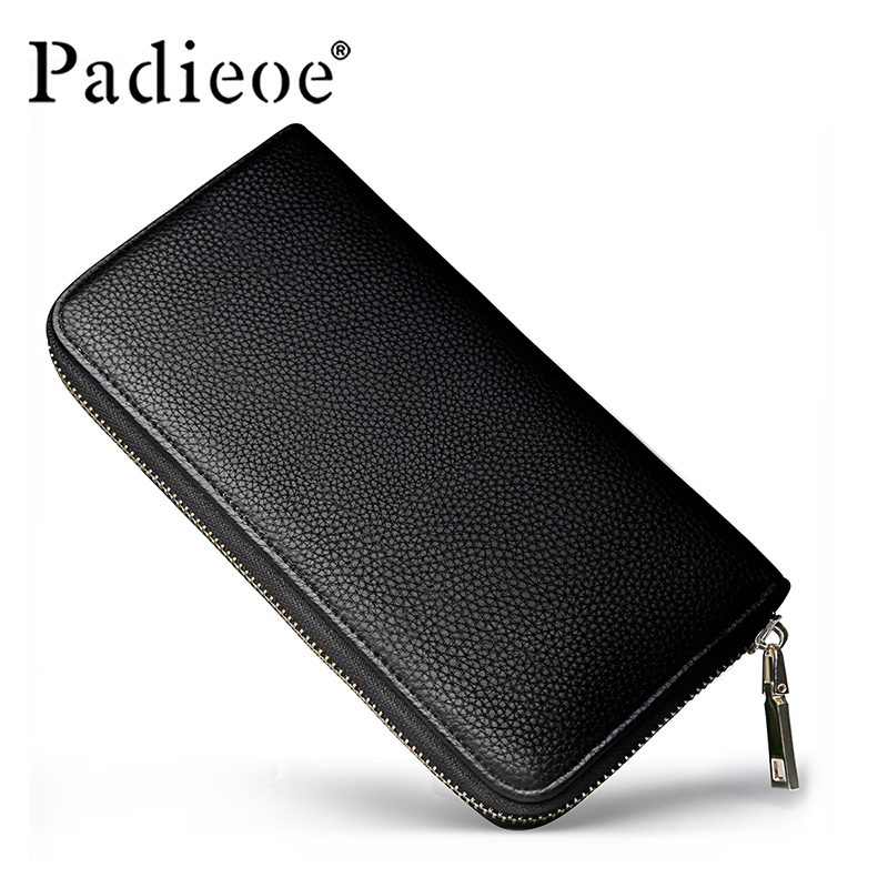 Padieoe 2017 Brand High Quality PU Leather Mens Long Wallet Clutch Black Wallets and Purses Card Holder  Zipper Wallets Male<br><br>Aliexpress