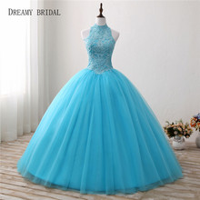 Dreamy Bridal Sweety Blue Quinceanera Dress Ball Gown Halter Vestidos de 15 Anos Beaded Debutante Longo Kep Hole Back Princesa