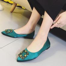 Spring 2017 New Brand Rhinestones Buckle Flats Ladies Shoes Shallow Mouth Pointed Toe Womens Shoes Satin Greenery Work Casual