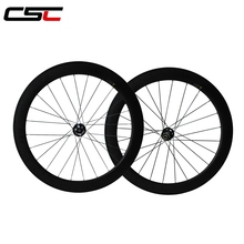 700C full carbon wheels/bike wheelset 60mm tubular durable carbon fiber 23mm width with Novatec Disc hub from Taiwan
