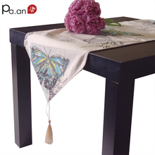 Europe linen cotton table runner for wedding party letter blue butterfly printed table covers home decoration in stock(China)