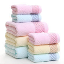 New 3pcs Face Bath Towel Set Home Use Cotton Towels Bathroom For Adults High Absorbent Towel Gift Wholesale 3 Colors(China)