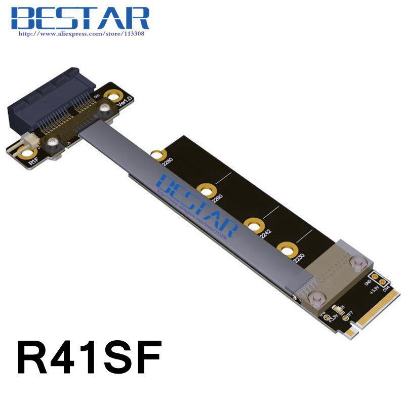M.2 NGFF NVMe KeyM 2230 2242 2280 To PCIe 1x Riser Card PCI-E Gen3.0 1x 10cm 20cm 30cm 1ft 2ft For 1050ti 1060ti 1080ti RX580<br>
