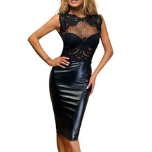 Buy HAMBELELA Summer 2018 Latex New Bandage Dress Robe Femme Sexy Sheer Lace Dress Open Back Knee Length Bodycon Evening Party Dress