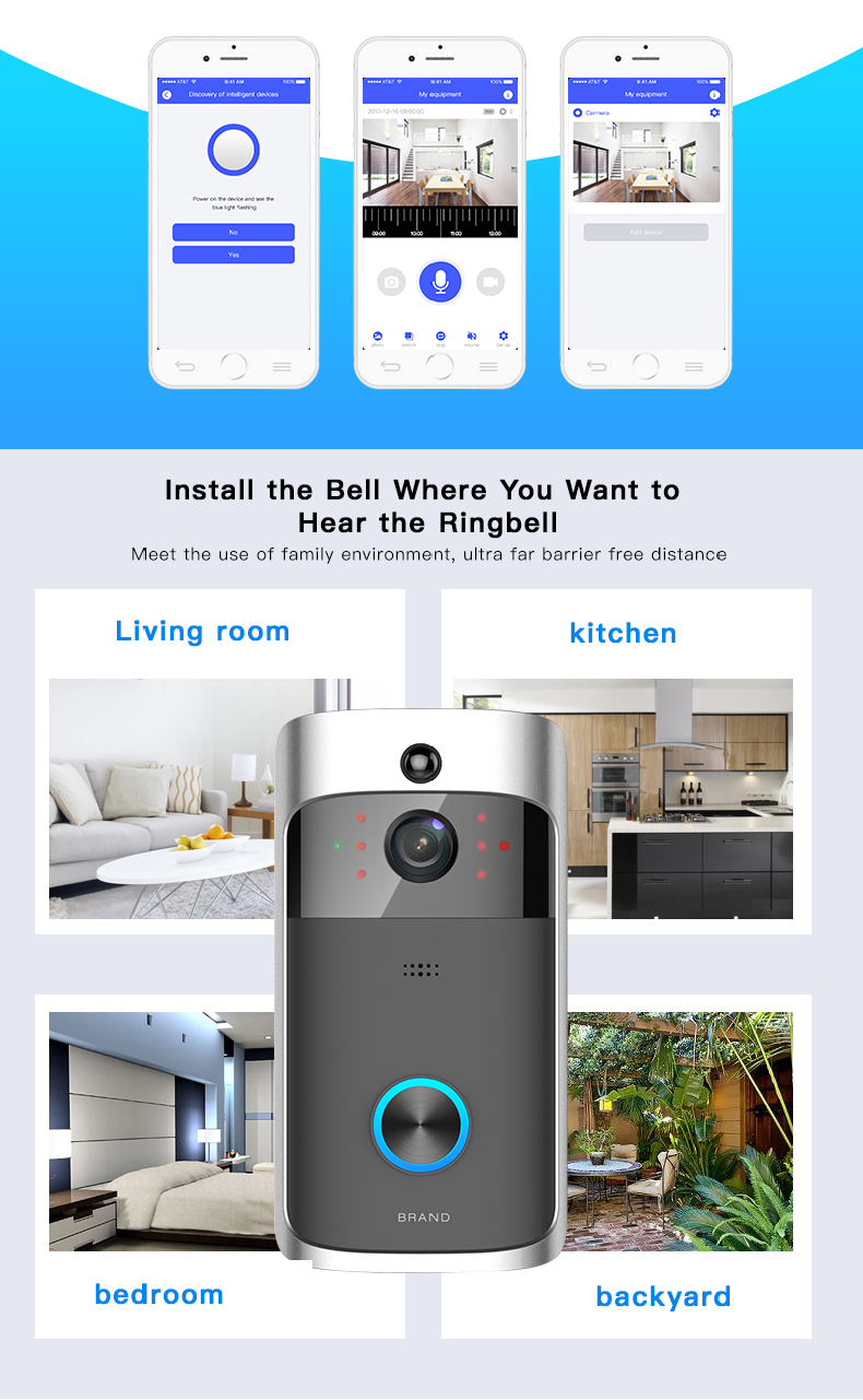 11 Wireless Doorbell Ring Chime Door Bell Video Camera WiFi IP 720P Waterproof IR Night Vision Two Way Audio