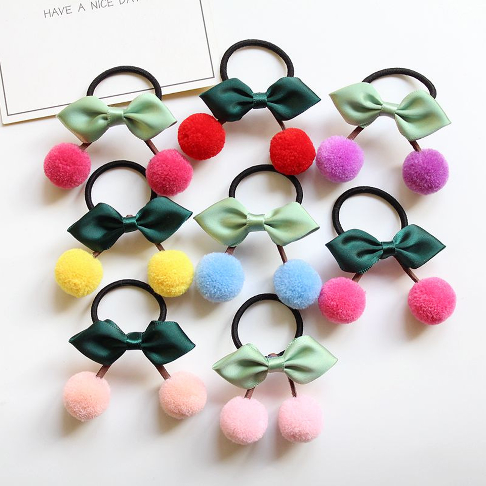 Humble 1pcs Lovely Flower Gray Ball Elastic Hair Bands Toys For Girls Handmade Bow Headband Scrunchy Kids Hair Accessories For Womens High Quality And Inexpensive Apparel Accessories Girl's Accessories