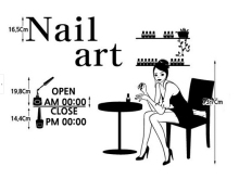 Nail salon beauty and hair salon store window wall sticker advertising shop hour  glass service sign sticker wall sticker