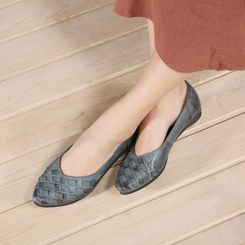 a7b3782287a44e VALLU/весенне-Летняя женская обувь на плоской подошве из натуральной кожи с  острым носком