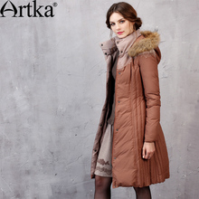 Artka Women's Winter New Fur Hoodie Duck Down Coat Wind Proof Warm Thick Long Down Outerwear YK10057D