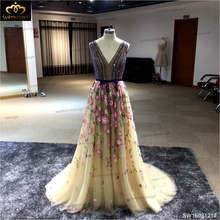 Evening Dress 2016 Colorized V-neck Floor-length Chiffon Sexy Formal Prom Party Gowns Elegant Long Evening Dresses(China)