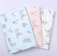 160CM*50CM cotton cloth fresh cartoon BLUE WHITE PINK rabbit potted plant flowers fabrics for DIY crib bedding handwork decor(China)
