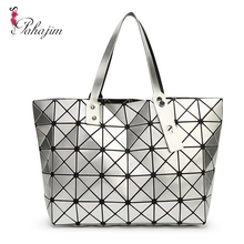Pahajim Fashion Women Quilted Handbag bag Women 2017 Geometric tote Laser Shoulder Bag(China)
