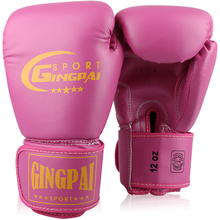 10oz 12oz Good Quality Boxing gloves latex inner training punch bag mitts adult fighting kick MMA gloves pink women Sparring MMA(China)