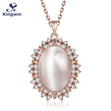 N908 Fine quality factory supplier Newest luxury design female fashion jewelry opal pendant necklace Pure Gold Color cz Zirconia(China)