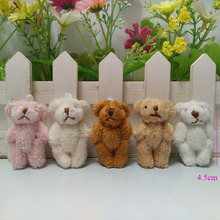 10 pcs/lot,4cm to 4.5cm mini color teddy bear with long wool doll pendants wholesale baby cartoon, 4 colors to choose(China)