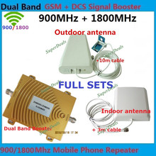 Best price ! Dual Band GSM 900 GSM 1800MHz Mobile Phone Signal Repeater GSM DCS Signal Booster Kits With Antenna & Cable 1 Sets