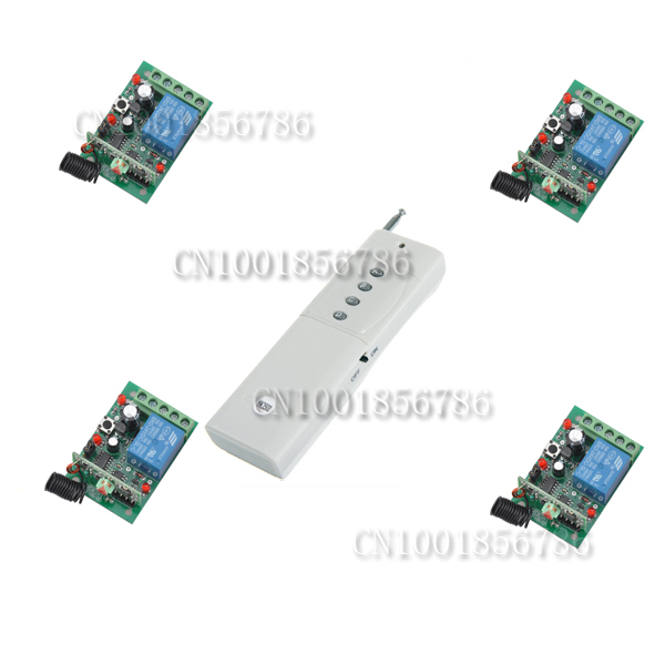 DC24V 4CH RF wireless remote control switch system 4Receiver&amp;1Transmitter Momentary Toggle Latched Adjust Learning 3 Indicator<br>