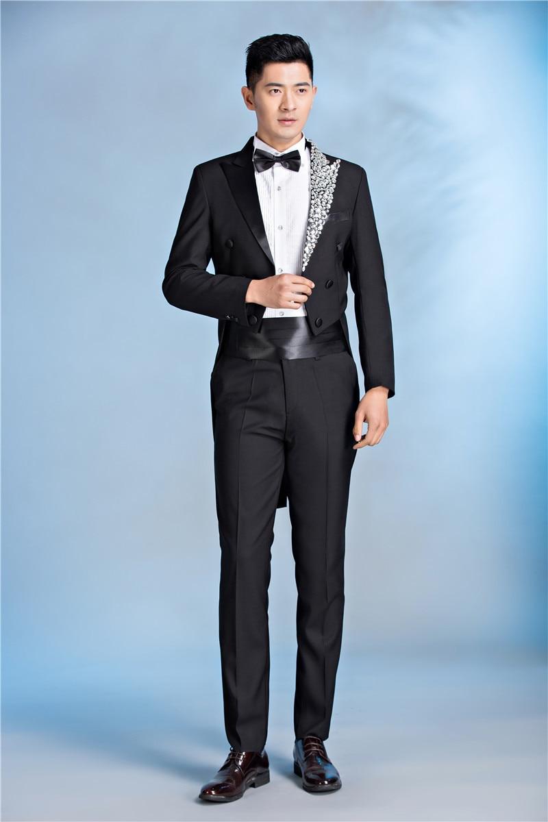 2018 Pyjtrl Mens Luxurious Crystal Lapel Black Tail Coat Latest Coat ...
