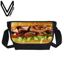VEEVANV Brand 2017 Hamburger Image Messenger Book Bag 3D PU Prints Handbag Students Study Crossbody Bag Travel Shoulder Book Bag