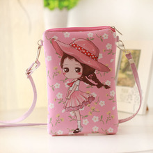 PU leather printing women coin purse wallet ladies mini crossbody money pouch bag bolso mujer bolsa carteira feminina for girls