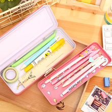 1 Pc Cartoon Metal Pencil Case 3 Floors 210x77x40mm For Boy Girl Students 2 Colors Pencil Box Deli 95556(China)