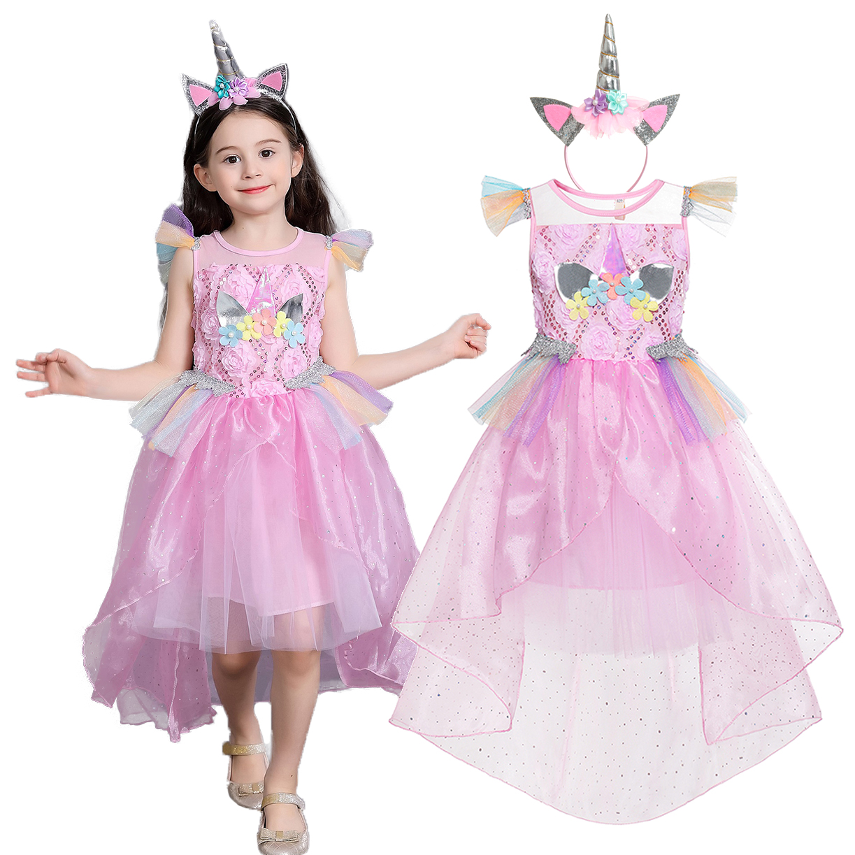 Girls Unicorn Dress with Headband Princess Dressing Up Costume Outfit Pink Age 2-8 Years