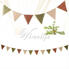 5 Banners Pennant Burlap Flag Birthday Party Decoration 12 Flags Chevron Mini Natural Hessian Burlap Banner Rustic Wedding Party