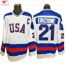 2017 Winter Mens Usa Ice Hockey Jersey Vintage 1980 Miracle On Ice Team USA Mike Eruzione 21 Winter Sport Wear White