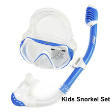 Colorful kids diving set silicone child snorkel and mask tempered lens snorkel mask set safty water sport gears and snorkel gear