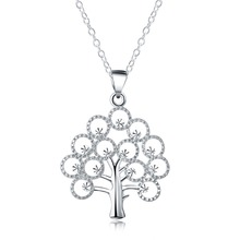 GINSTONELATE Charms wedding silver plated new cute lady women necklace TREE Life jewelry fashion cute pendant necklace LN034