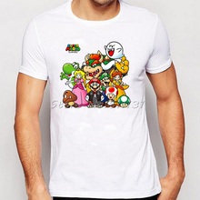 Summer Super Mario Designer T Shirts O-Neck Short Sleeve Fashion Men T-shirts The Beatles Tshirts S-XXXL Asian Size Tees