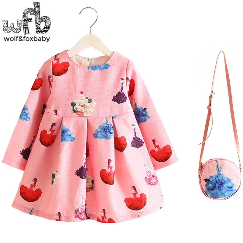 Retail 2-8years Dress+Bag/set New Cute Kids Baby Girl Summer Spring Fall Long-Sleeve Perfume Princess Flower Pink Dancing 2016<br><br>Aliexpress