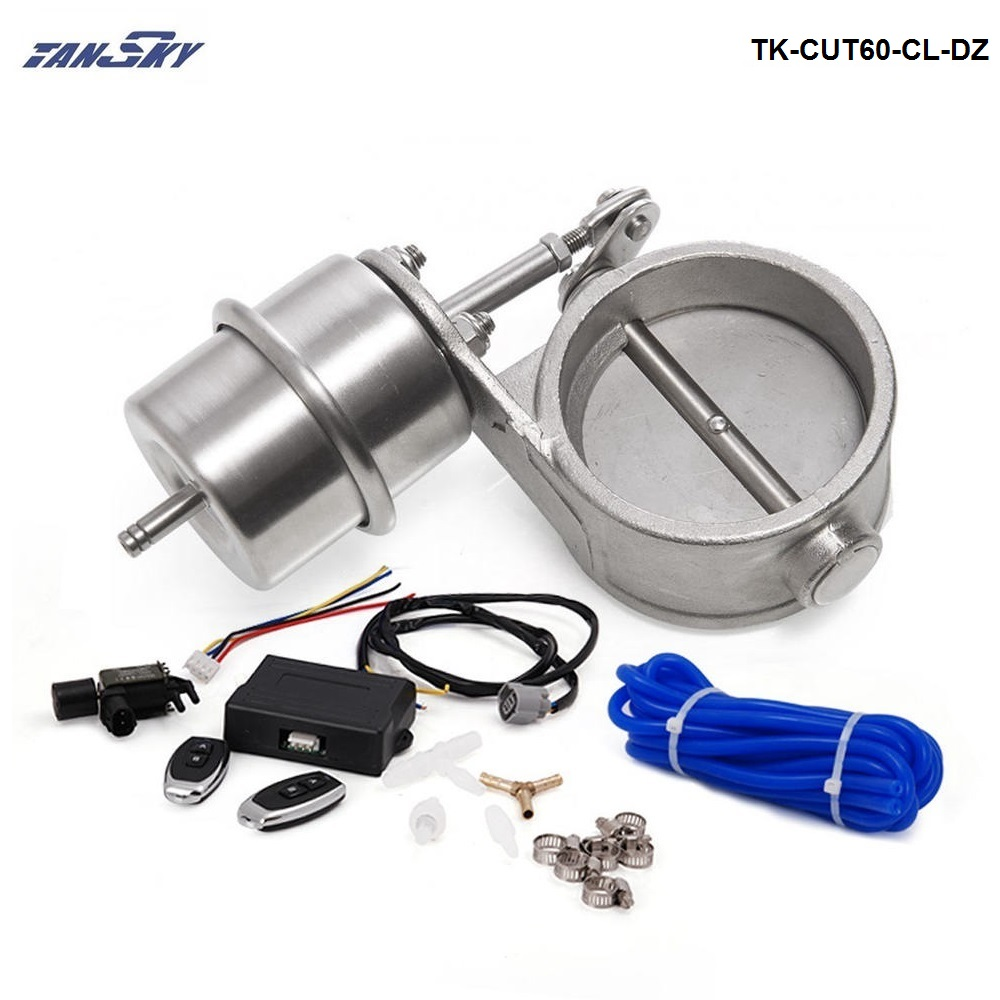 """Exhaust Control Valve CUTOUT 2.3"""" 60mm Pipe Close Style With Vacuum Actuator with Wireless Remote Controller Set TK-CUT60-CL-DZ"""