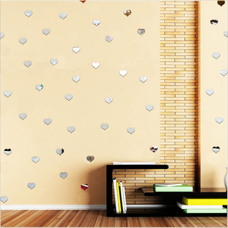 Of Acrylic Wall Stickers Mirror Heart Shaped Decorative Mirror High ...